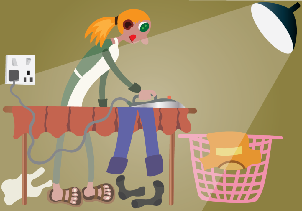 Vector Issue #6059: Girl Ironing her clothes