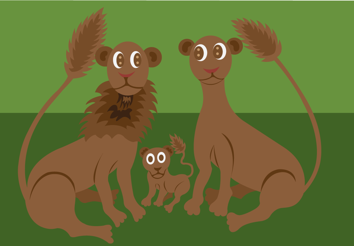 Vector Issue #6524: a lion family poses for a photo