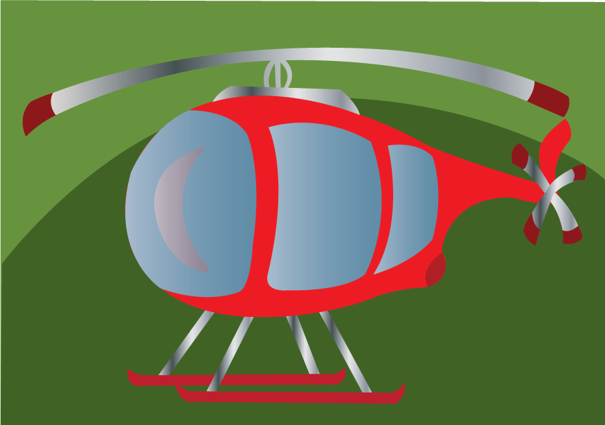 Vector Issue #6525: Little Chopper- a tiny helicopter sitting on grass