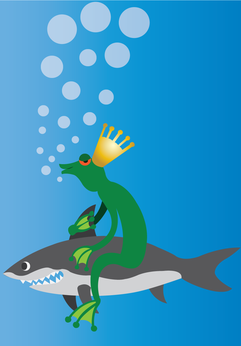 Vector Issue #6526: Lord of the Sea- a monster frog piggybacking a shark