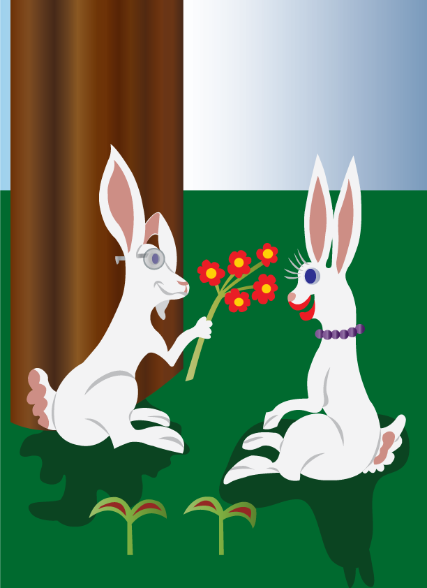 Vector Issue #6399: cute love bunnies, a bunny showing a bunch of flowers to its lover