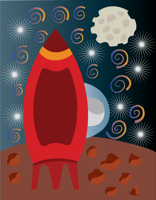 Vector Issue #6527: Man on the moon-a space shuttle sitting on a lonely planet