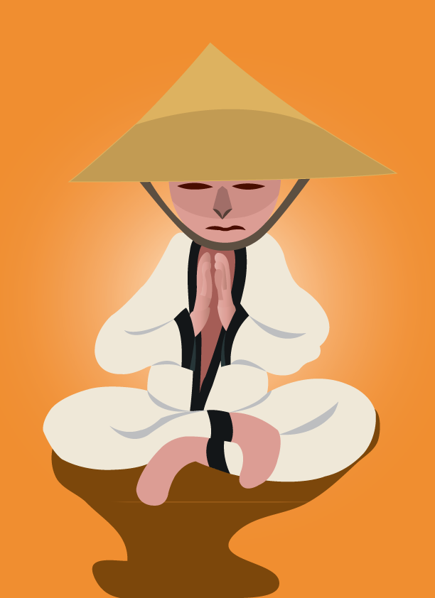Vector Issue #6400: meditating monk, a warrior monk having a calm hour of meditation