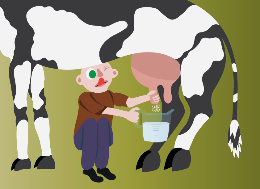 Vector Issue #6401: milking manual, a guy milking a cow,