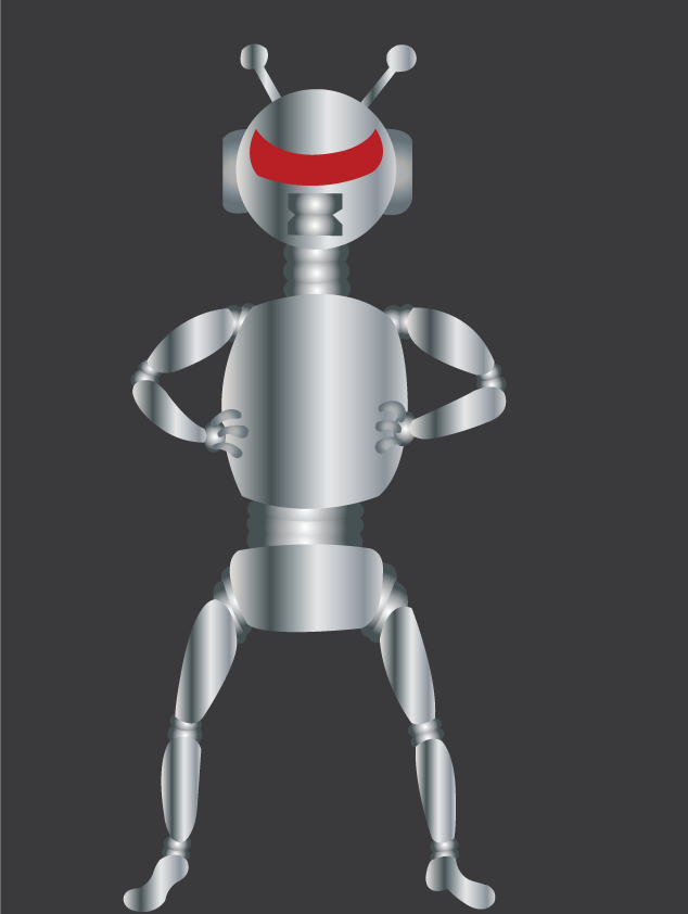 Vector Issue #6534: a robot standing arms akimbo