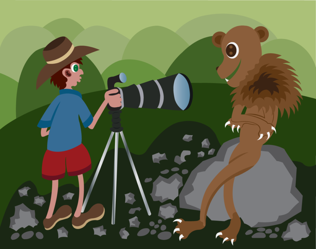 Vector Issue #6076: A wildlife photographer taking photo of a lion