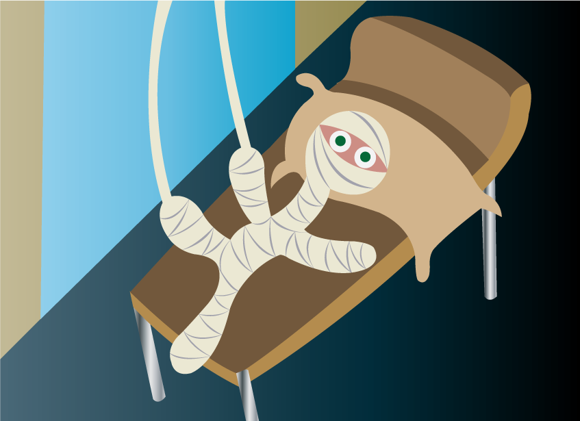 Vector Issue #6538: Nursing Injuries- an injured  patient waiting patiently in bed covered with bandages,