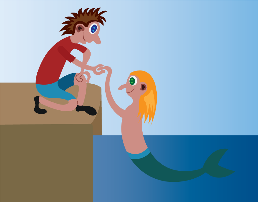 Vector Issue #6539: a young man with a mermaid lover