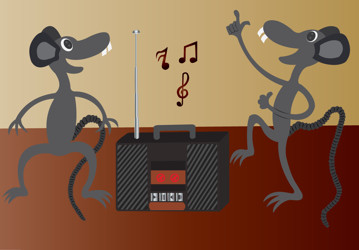 Vector Issue #6543: On the dance Floor-a pair of mice on the floor dancing to the sweet bytes & tunes