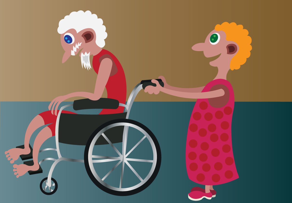 Vector Issue #6544: On the wheelchair-a girl pushing her grandfather in a wheelchair