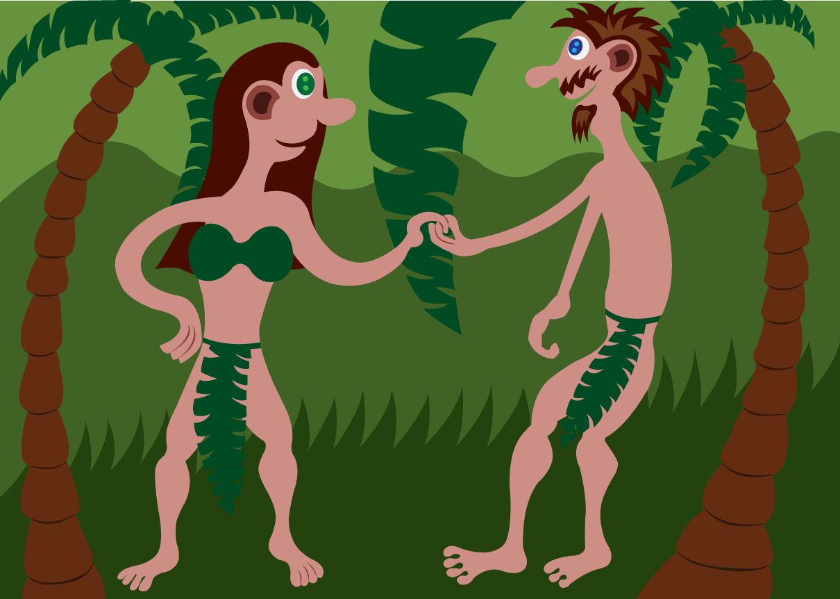 Vector Issue #6545: Our first parents Adam and Eve in the beautiful garden of Eden, a place that was so beautiful such that there are no words to describe it.