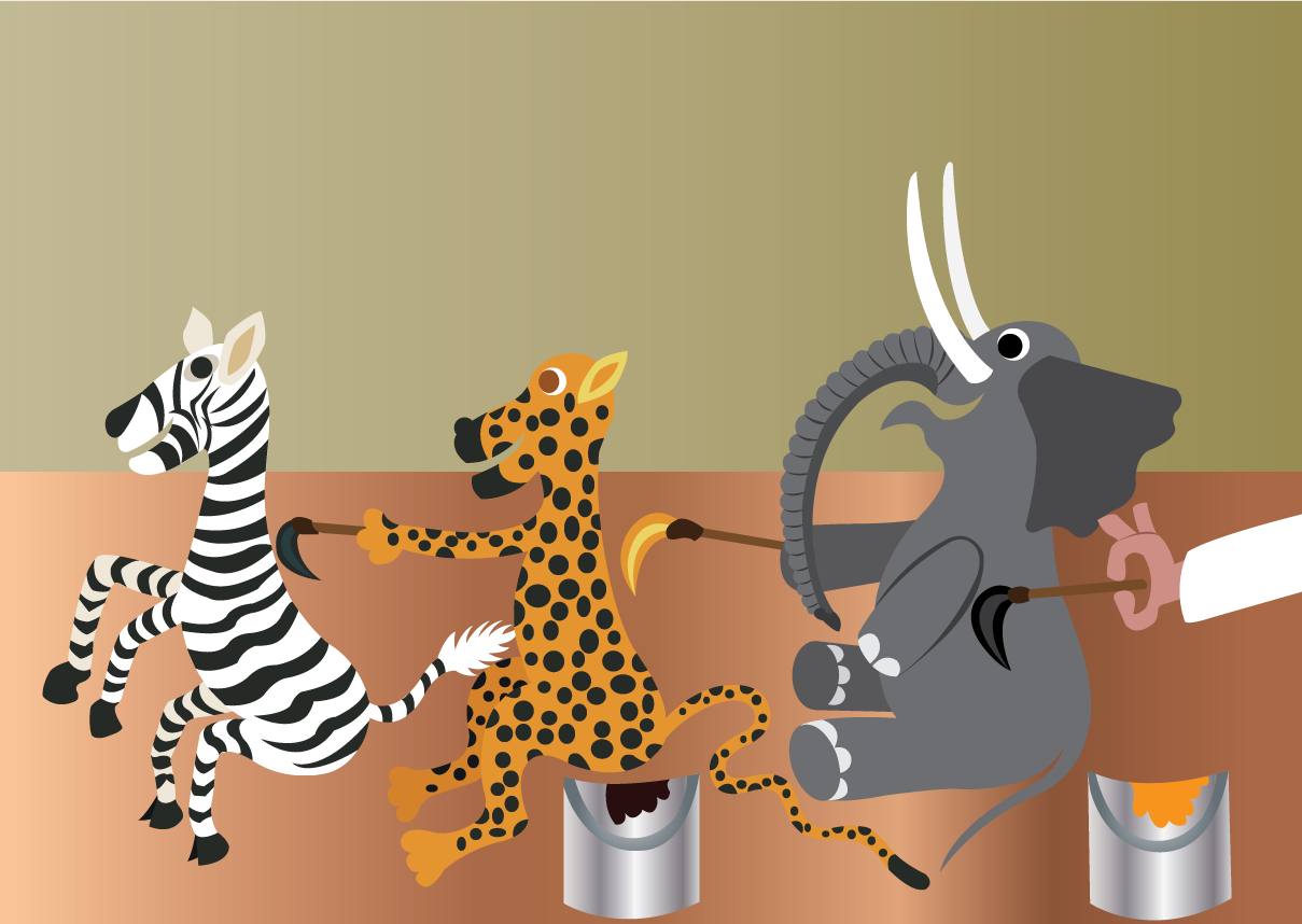 Vector Issue #6547: Painting class-exotic animals bodypainting one another during an art lesson