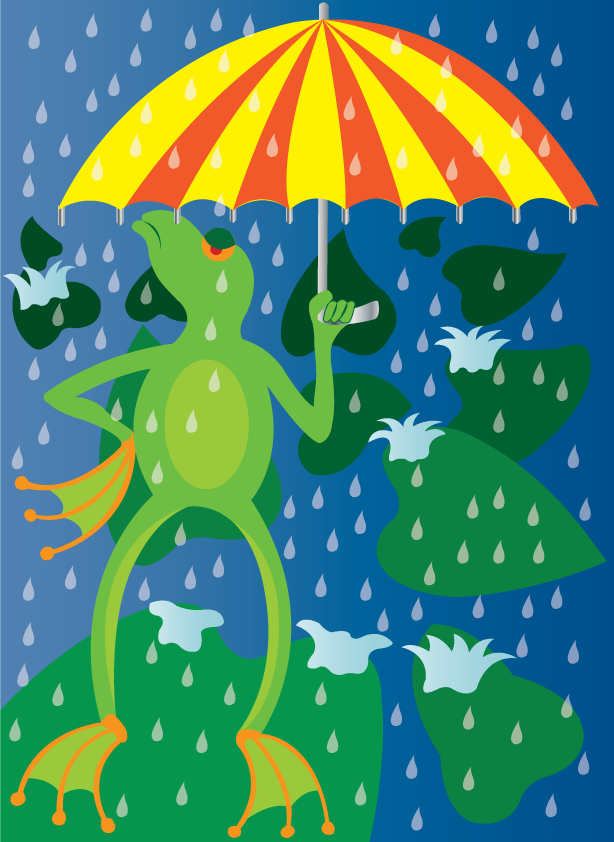Vector Issue #6556: Rainy Day-A frog holding up an umbrella to cover his head from rain
