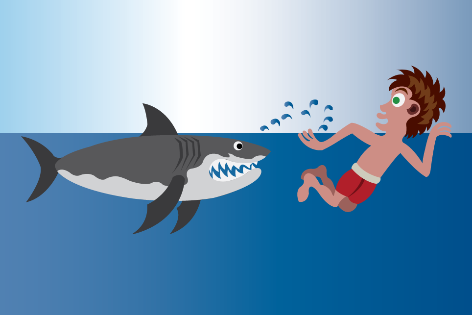 Vector Issue #6563: Shark Beach-A Swimmer trying to outswim a dangerous shark,