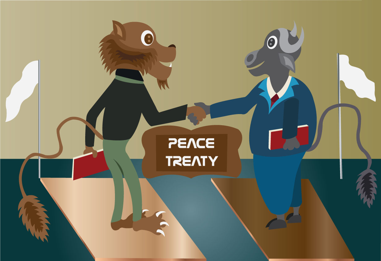 Vector Issue #6564: Signing the treaty-A lion and a buffalo sighing an historical peace treaty