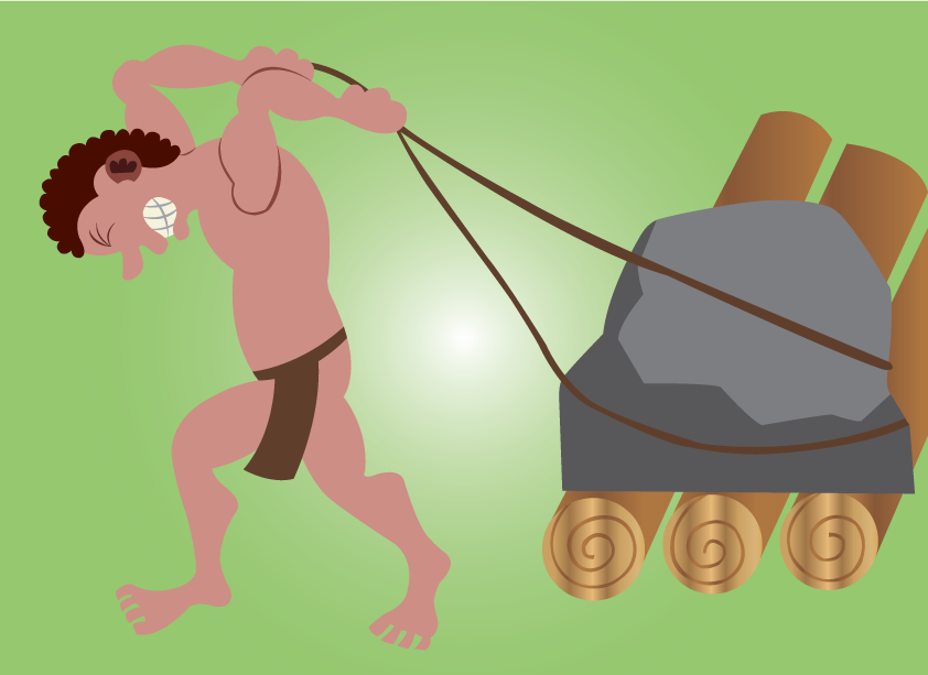 Vector Issue #6567: Stone Age tools 1- A stone age man pulling  a stone on a roller