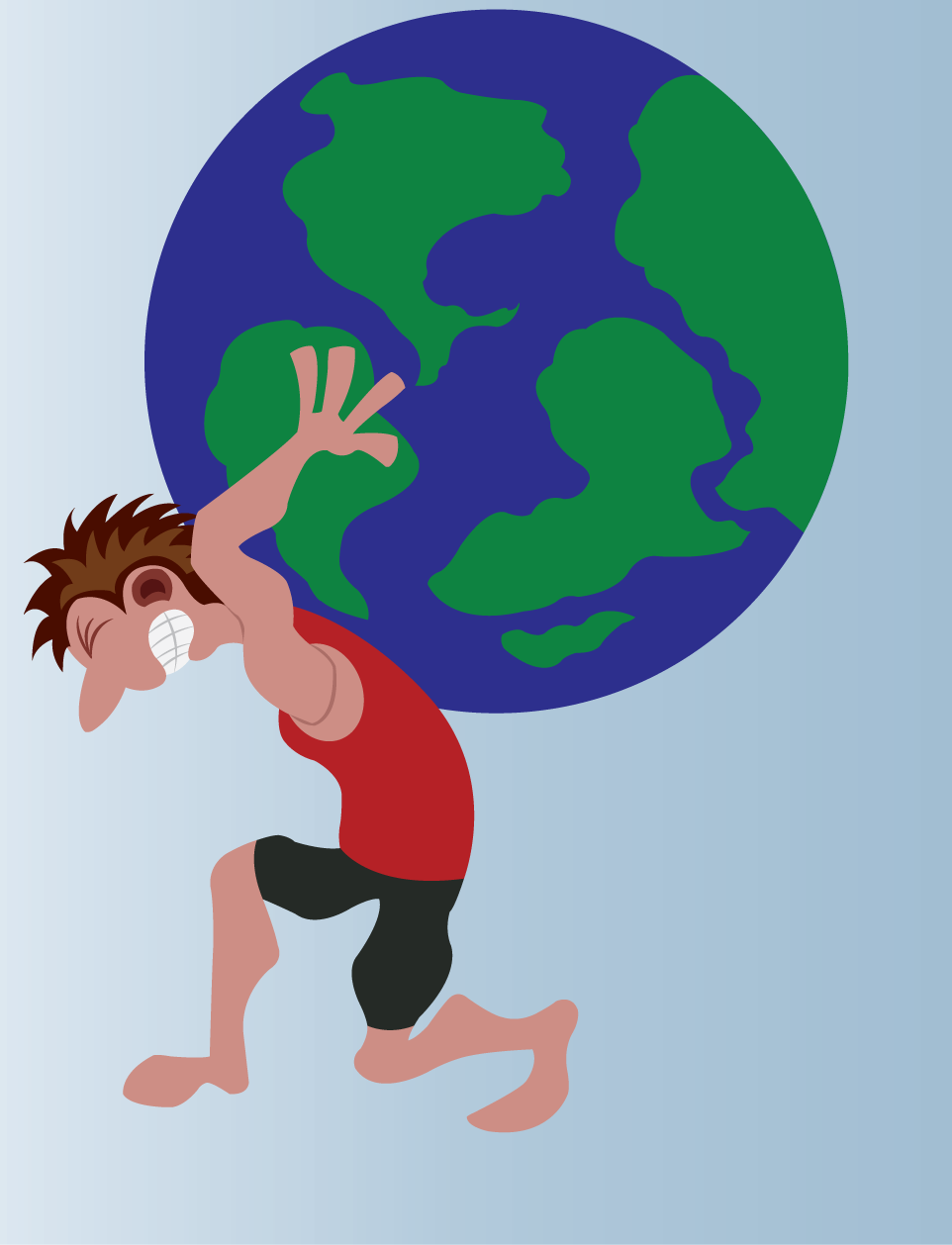 Vector Issue #6570: Being the Strongman all the time-a man lifting a globe sized weight on his back