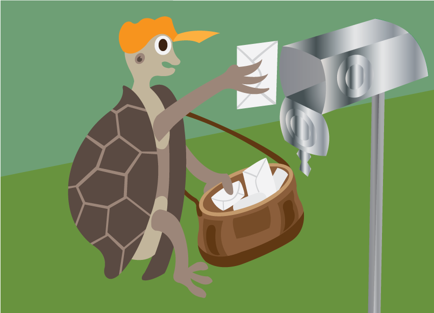 Vector Issue #6575: Super Slow mail – a tortoise putting a letter into a mailbox