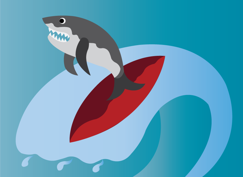 Vector Issue #6577: Surfing Sharks 1- A shark surfing the waves