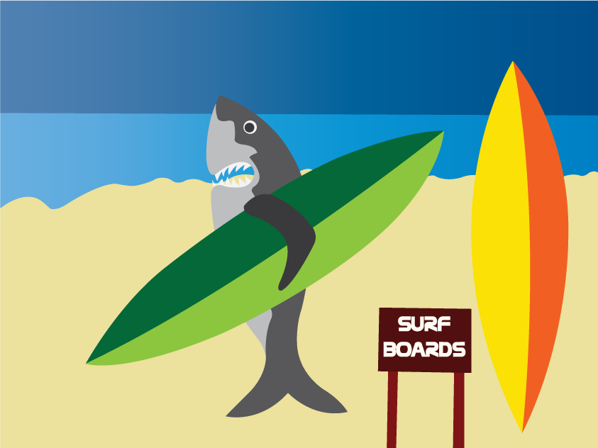 Vector Issue #6578: Surfing Sharks 2- A shark on the beach carrying a surf board,