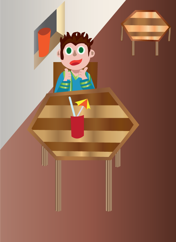 Vector Issue #6406: sweet juice, kid enjoying a drink in a restaurant