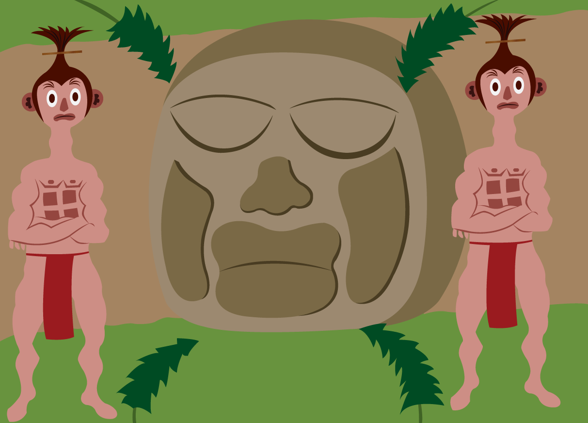 Vector Issue #6582: Temple Guardians-two guards standing at the entrance of a temple,