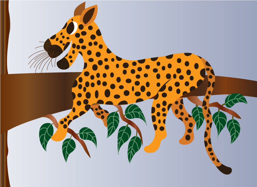 Vector Issue #6366: A leopard relaxes on a tree branch