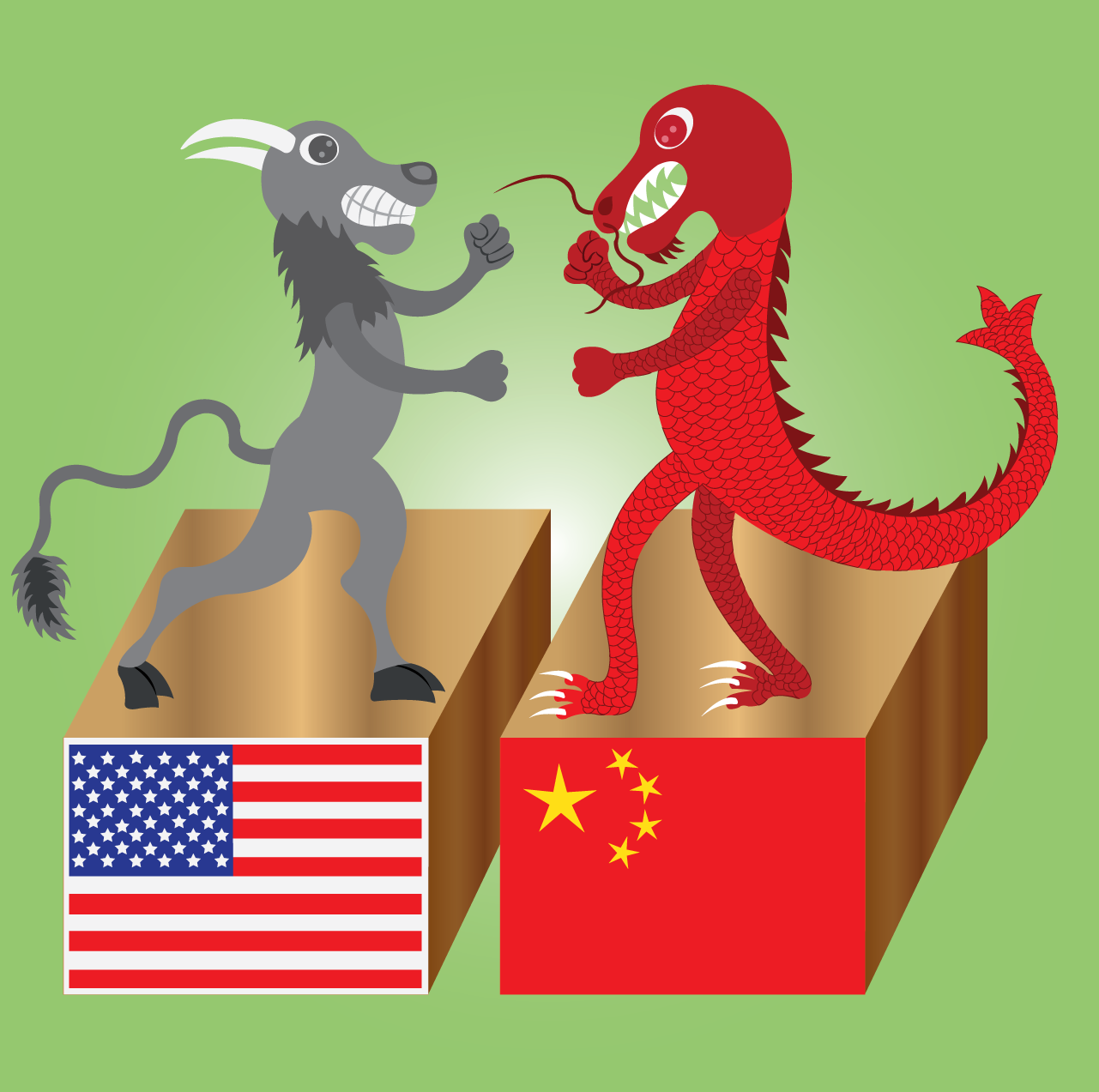 Vector Issue #6584: The buffalo versus the dragon- The American Buffalo in a fierce Fist Fight with the Chinese Dragon