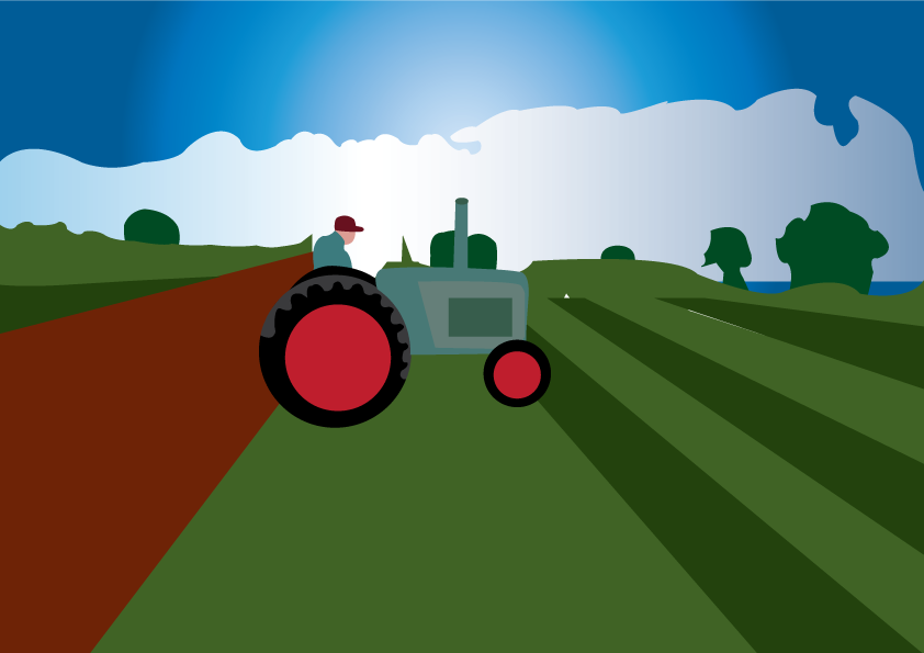 Vector Issue #6407: the farmer and the metal horse, a dedicated farmer trying out his new tractor