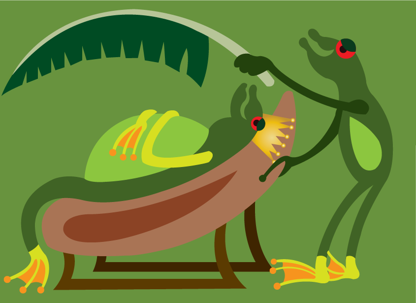 Vector Issue #6585: The frog king 1-a frog king being cooled by a banana leaf