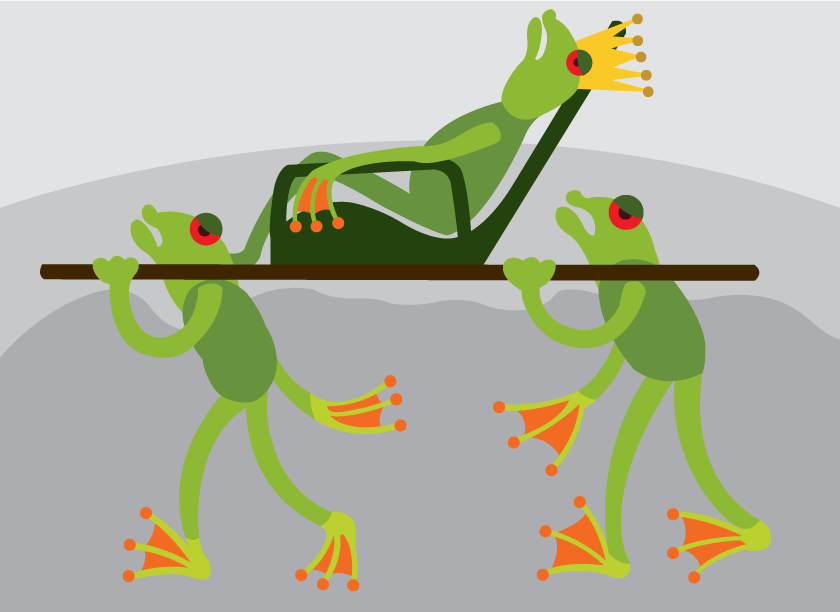 Vector Issue #6586: The Frog King 2- a frog king being carried on the shoulders