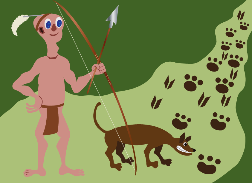 Vector Issue #6588: The hunter 2- A tribesman hunting wild animals with his dog
