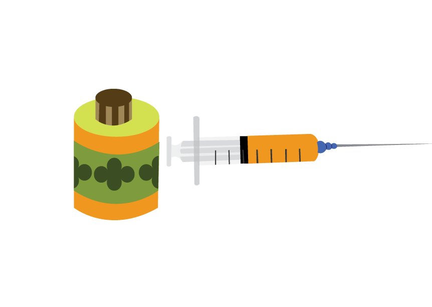 Vector Issue #6592: A vaccine bottle with a syringe