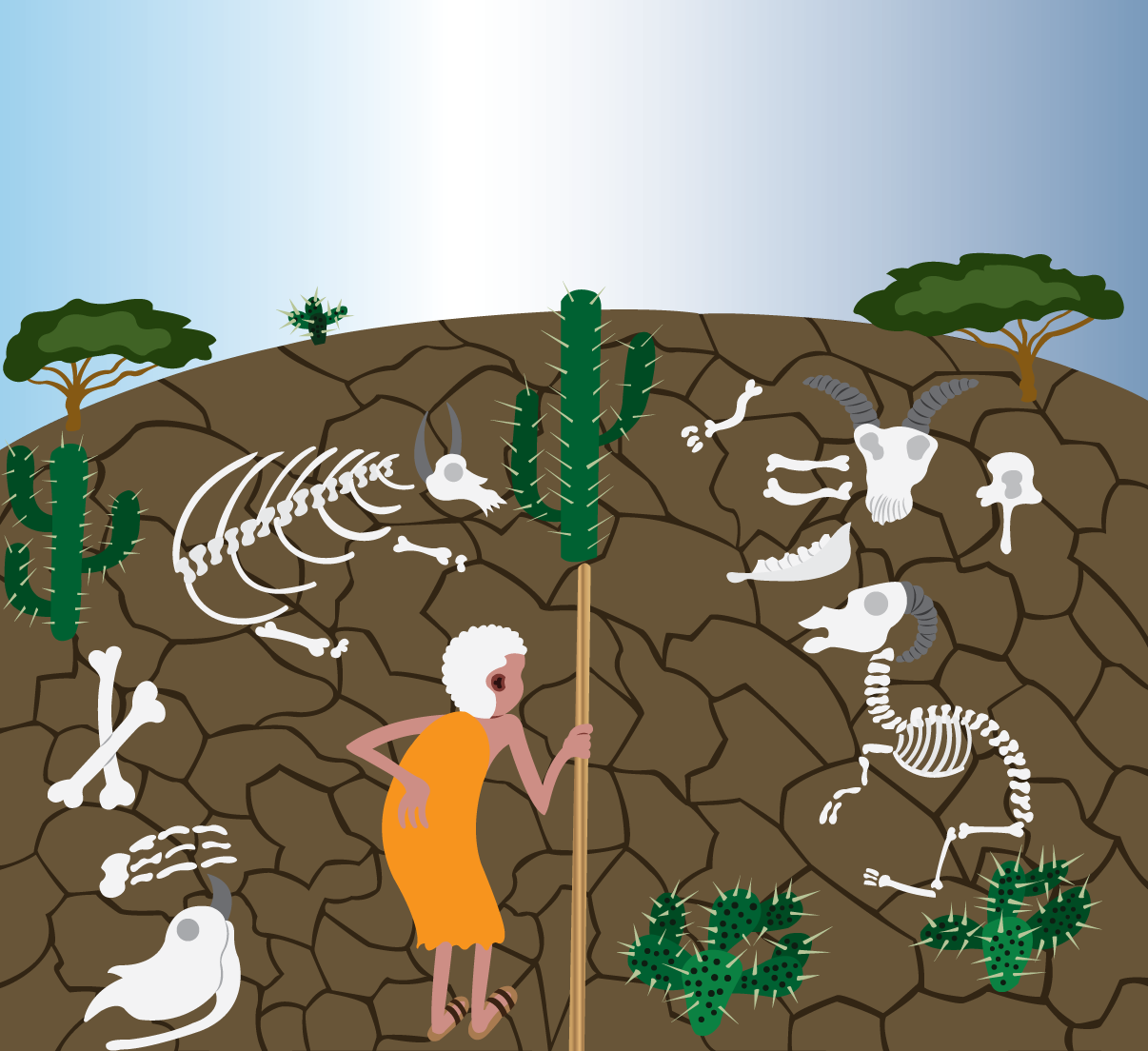 Vector Issue #6596: The year of the great drought-An elderly man standing next to landscape devastated by drought