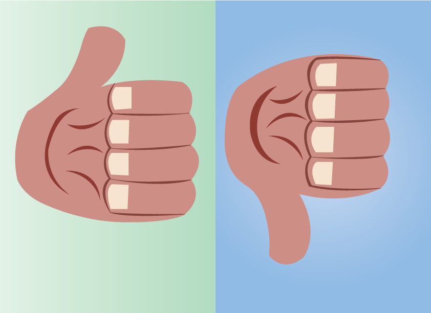 Vector Issue #6597: Thumbs up thumbs down-a thumb in an upward and downward pointing position