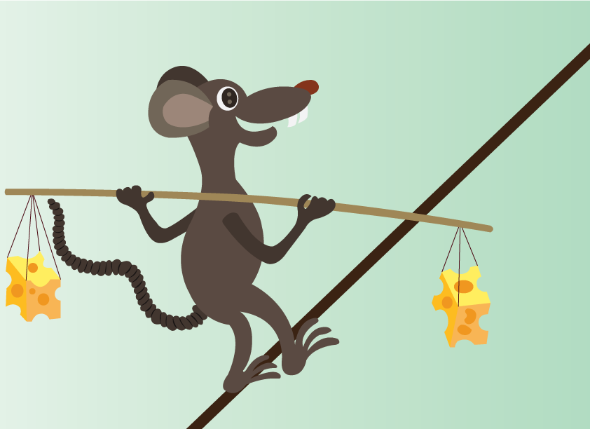 Vector Issue #6598: a mouse walking across a tight rope balancing cheese on its back