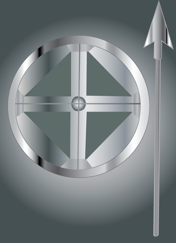 Vector Issue #6411: Ancient tools of war-2, a spear and a shield,