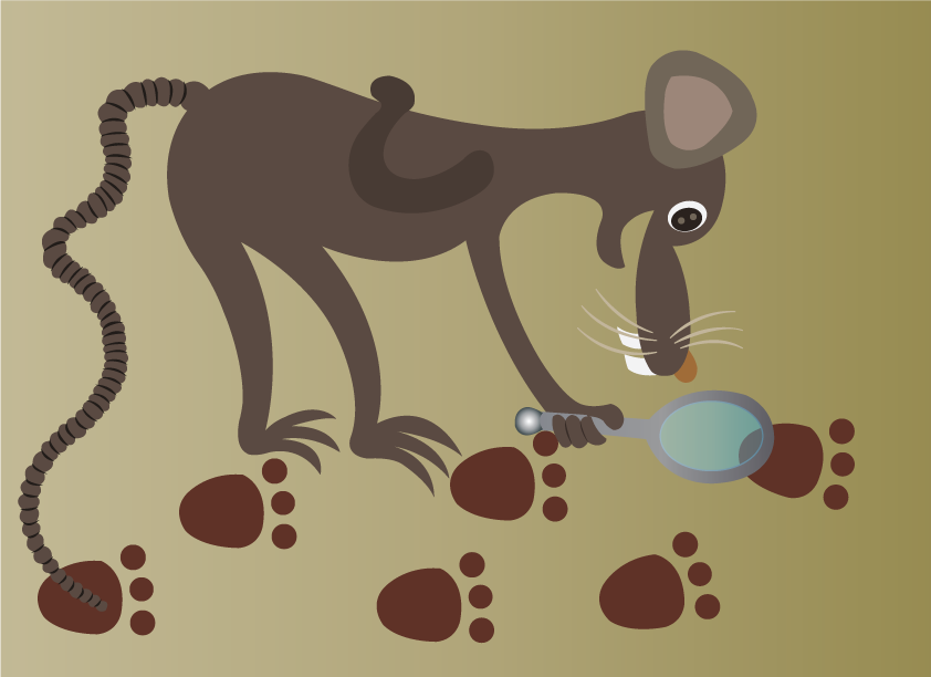Vector Issue #6599: a mouse tracking the footsteps of a cat