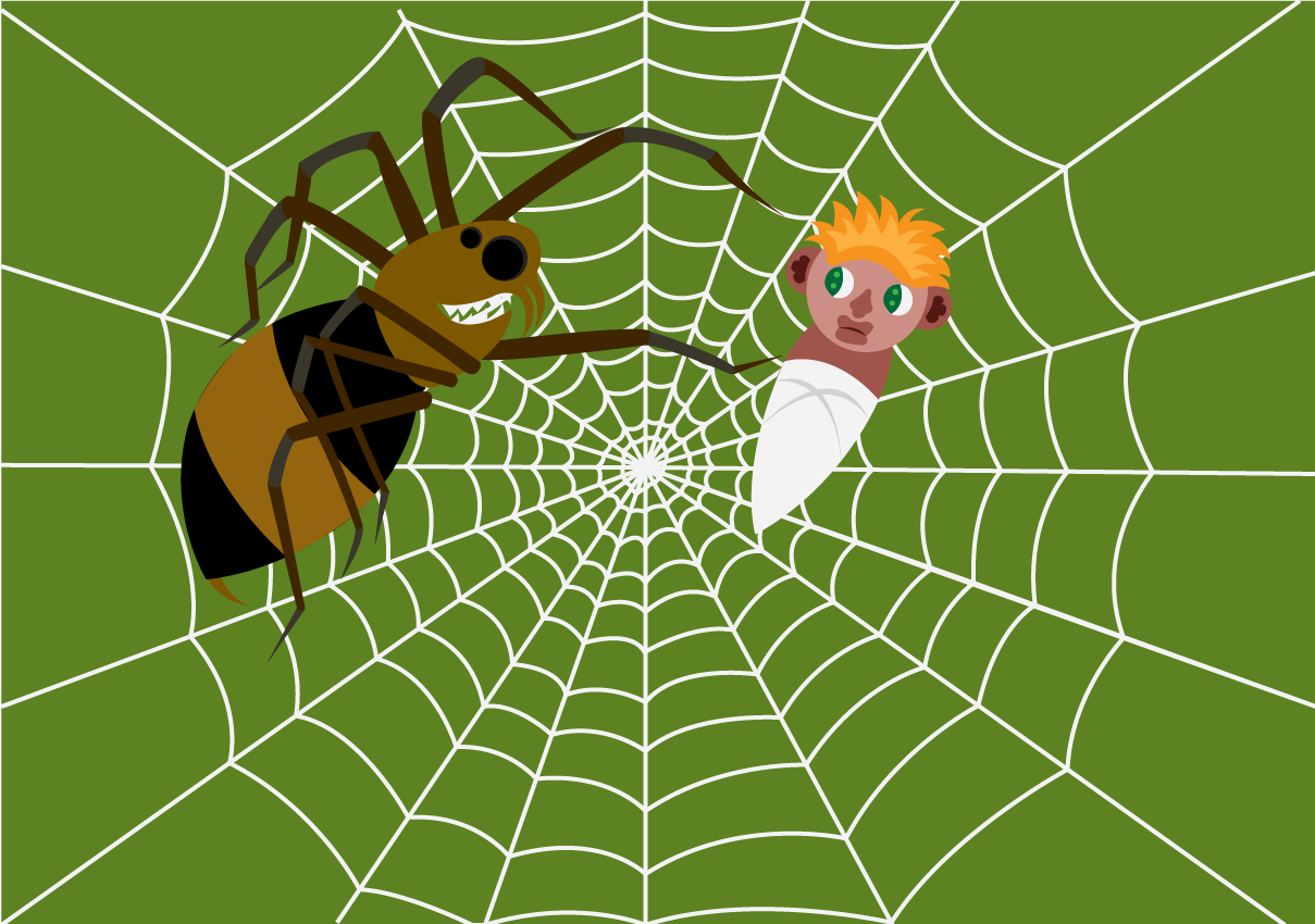 Vector Issue #6601: Caught in a spider's web, a small baby finds himself entangled and trapped in a spiders web