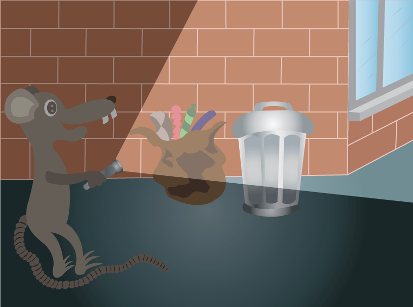 Vector Issue #6602: A rat checking a trash can in the middle of the night