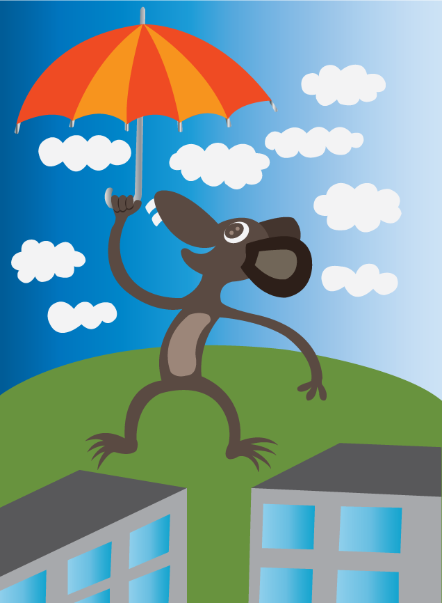 Vector Issue #6609: a mouse enjoying an umbrella lift