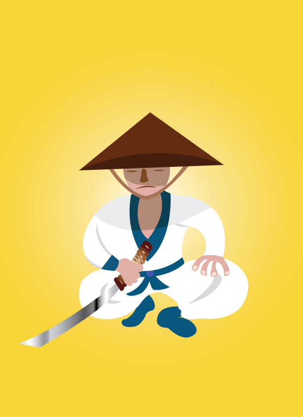 Vector Issue #6412: warrior monk, a samurai warrior holding his sword ready for combat,