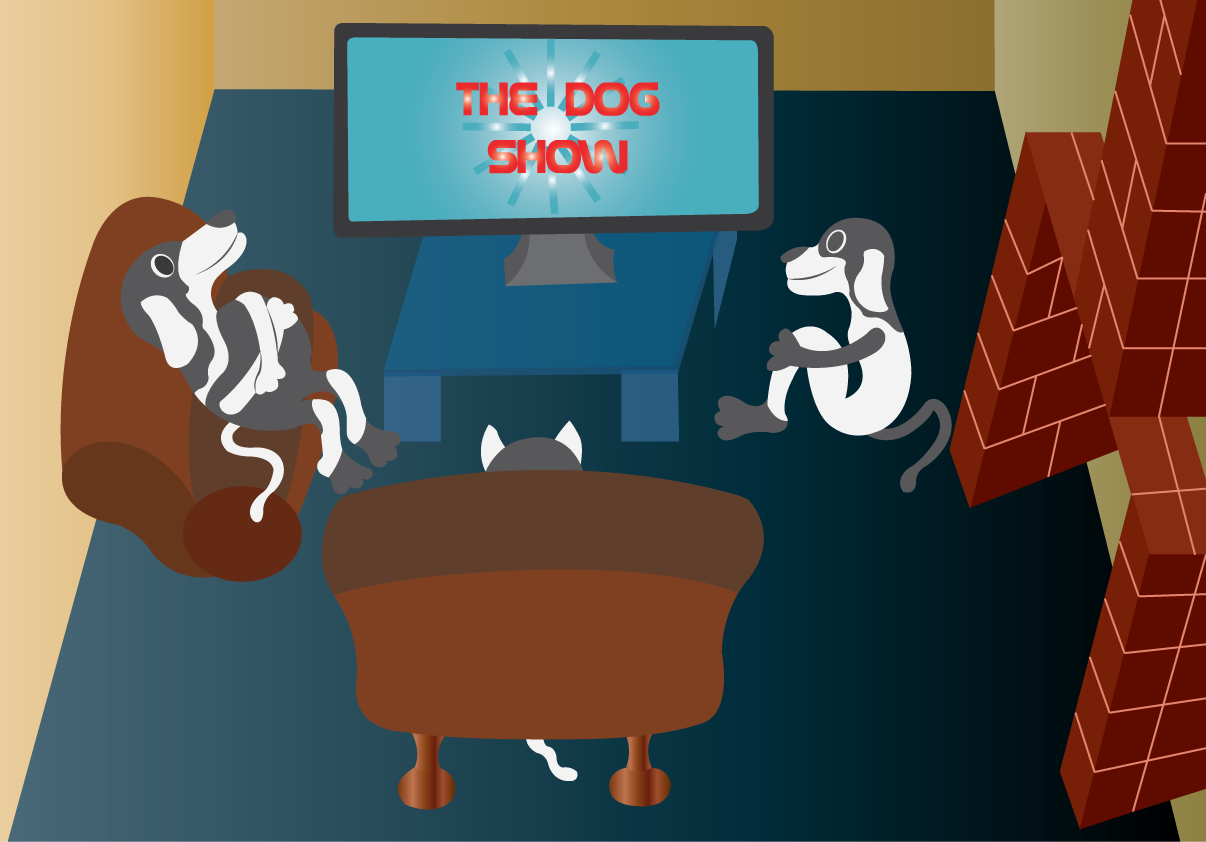 Vector Issue #6611: The Dog Show- a bunch of dogs watching their favorite evening program on a cable TV