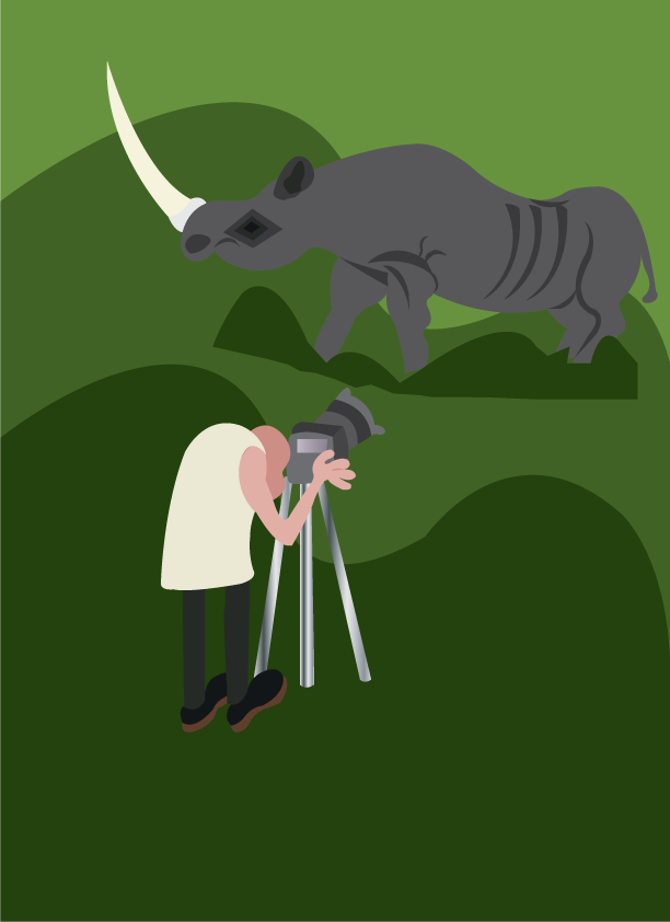 Vector Issue #6127: a wildlife photographer taking snap of a rhino