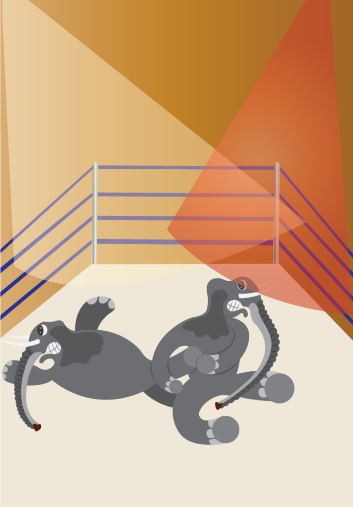 Vector Issue #6253: two wrestlers struggle with one another in a really tough match