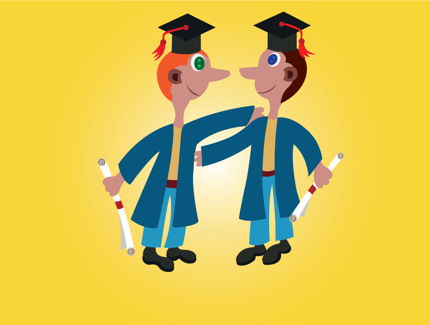 Vector Issue #6616: Young Graduates-A pair of Youngsters celebrating their High School graduation
