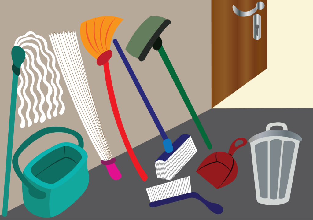Vector Issue #6656: Various tools used in daily cleaning, such as brooms and mopers
