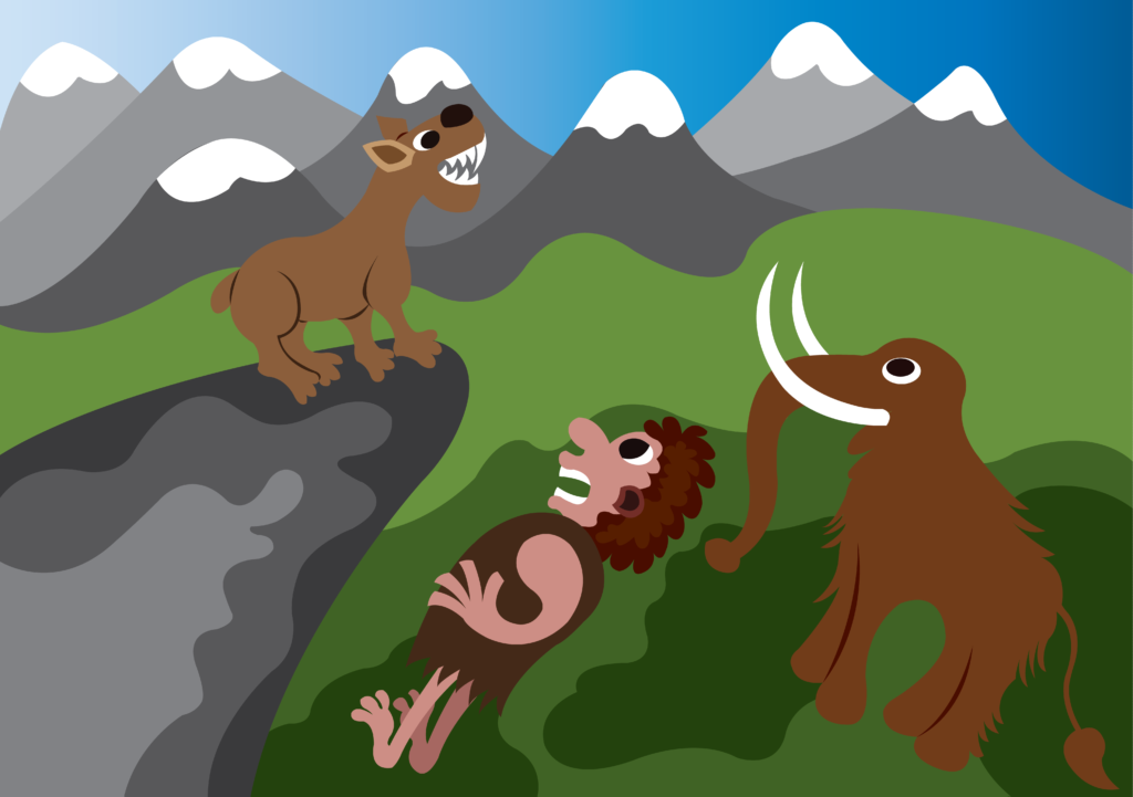 Vector Issue #6661: Prehistoric Peoples and creatures, The Woolly Mammoth, Saber toothed Cat and the Neanderthals