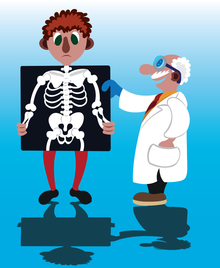 Vector Issue #6668: A doctor looks at an X-Ray Scan image of a patient