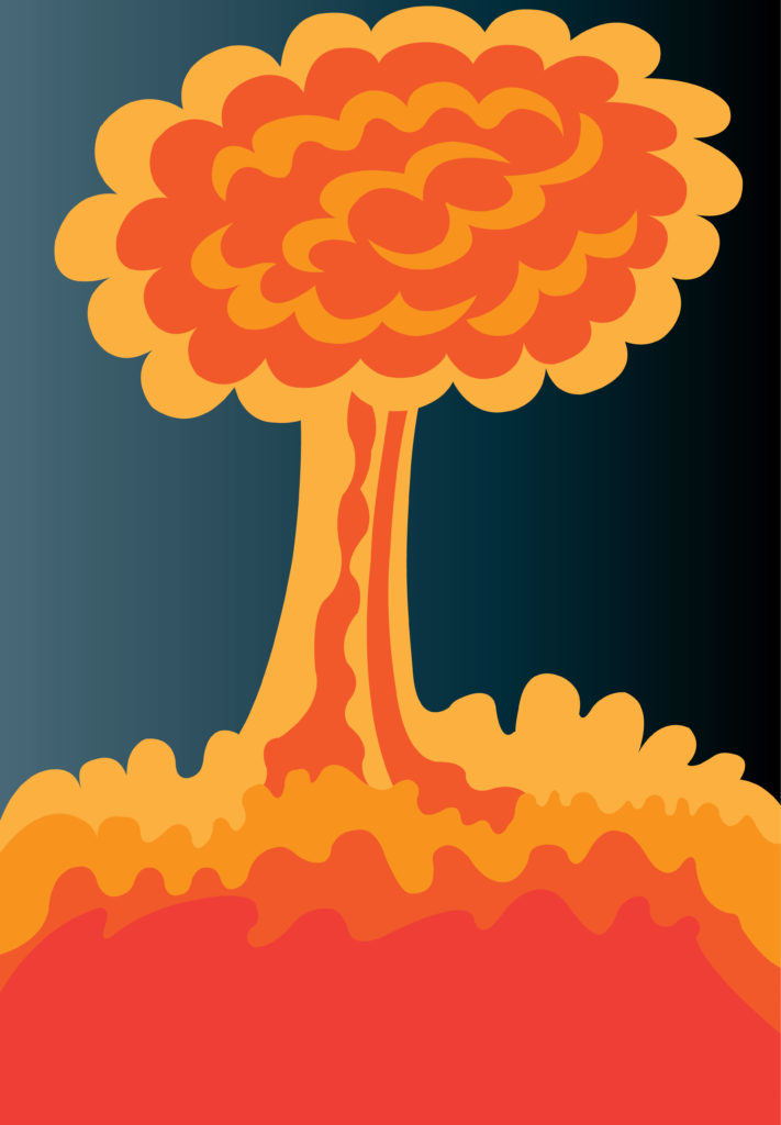 Vector Issue #6710: The mushroom cloud of an atomic bomb, the dawn of the nuclear weapons has brought about a dawn of great terror as well as long lasting peace between the superpower,